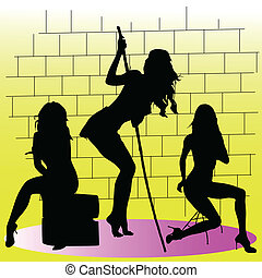 girl sexy three vector silhouettes