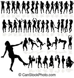 girl sexy vector in black silhouette
