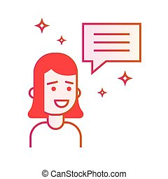 Girl shares information. Manager or businesswoman and speech bubble. Gradient line vector illustration isolated on white background.