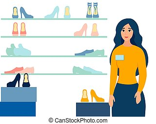 Girl, shoe seller, shop window. In minimalist style. Cartoon flat vector