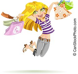 Girl shopaholic with shopping bags on white background -...