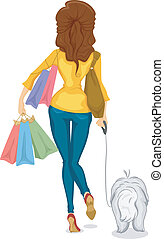 girl, shoping, vue, dos, chien