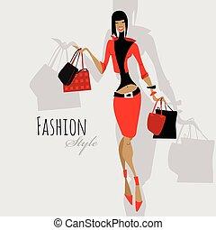 girl., shopping donna, moda, bags.