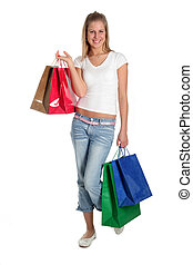 Girl shopping - Girl with shopping bags