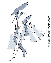 Girl shopping  - Illustration of a girl with shopping bags