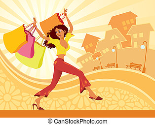 Girl shopping - Illustration of girl with shopping bags