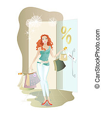 Girl shopping - Young redheaded girl makes discount...