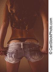girl, shorts treillis