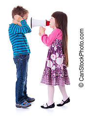 Girl shouting at boy with megaphone
