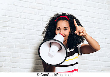 Girl Shouting Screaming Yelling With Megaphone For Promotion Advertising