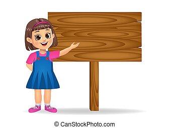 girl showing a blank wooden board