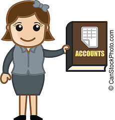 Accounts Book - Business Cartoons - Girl Showing Accounts...