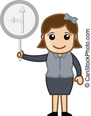 Girl Showing Direction Board Vector