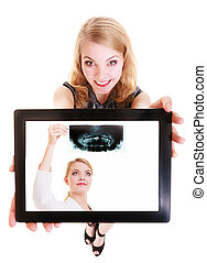 Girl showing doctor on tablet. Medical health care