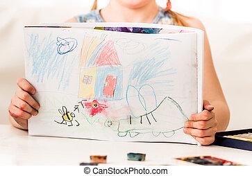 Girl showing pastel drawing