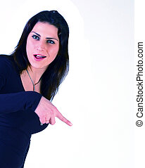 girl shows a finger