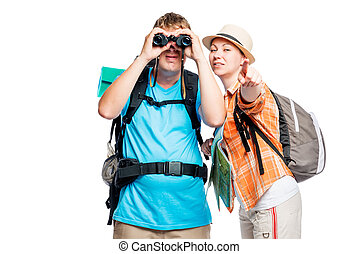 Girl shows a man with binoculars something in the distance on a white background