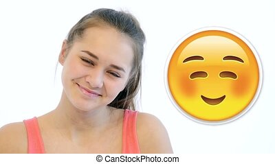 Girl Shows Different Emodji Emotions