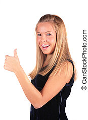 girl shows gesture Ok by the thumb