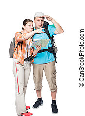 girl shows his finger direction of his friend on a white background