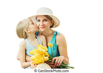 Girl shows how much he loves his mother isolated on white background.