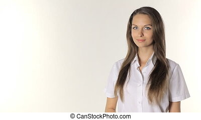 Girl shows on the information on a white background -...