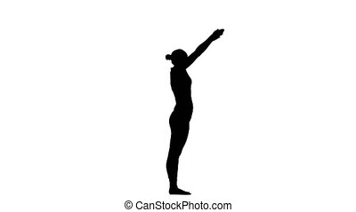 Girl shows the pose bridge, engaged in yoga, in good physical shape, body exercises, the indian culture, meditation, buddhism, mantra, gymnastics, harmony, yoga postures, healthy mind, indian philosophy, silhouette, white background