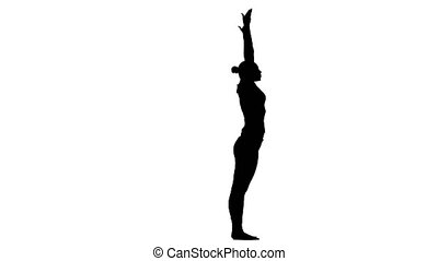 Girl shows the pose wheel. Silhouette