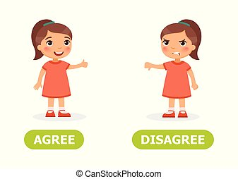 Opposite wordcard for agree and disagree illustration