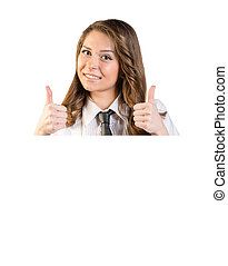 Girl shows thumb-up sign standing behind a white placard