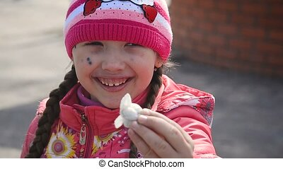 Girl sick chickenpox smiling