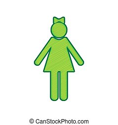 Girl sign illustration. Vector. Lemon scribble icon on white background. Isolated