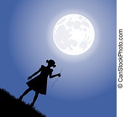 girl silhouette and the moon