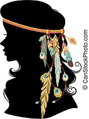 Girl Silhouette Boho Hair Feather Illustration
