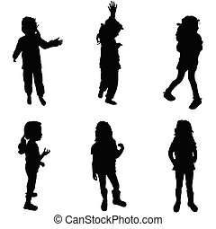 girl silhouette cute in various poses illustration