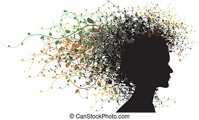 girl, silhouette, floral