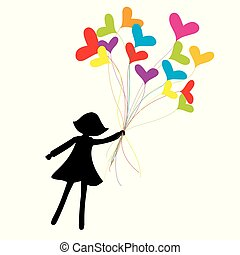 Girl silhouette flying with heart shape balloons
