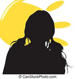 girl silhouette illustration with sun