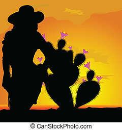 girl silhouette in desert with cactus part one
