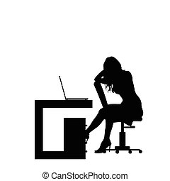 girl silhouette in office illustration