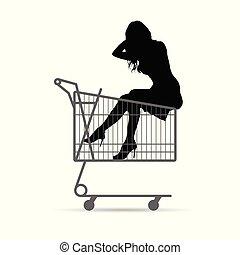 girl silhouette in shopping basket illustration