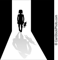 Girl silhouette in the dark