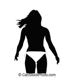 girl silhouette in white bikini vector