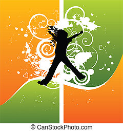 Girl silhouette jumping from joy, vector illustration