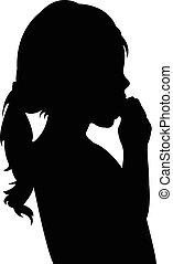 girl, silhouette, manger