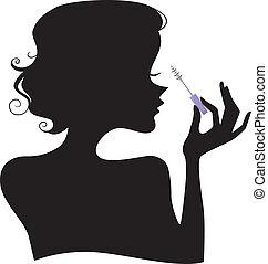 girl, silhouette, mascara