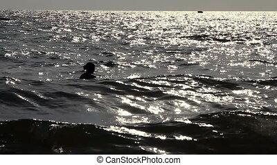 girl, silhouette, natation, océan