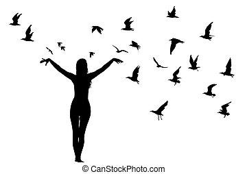 girl, silhouette, oiseaux