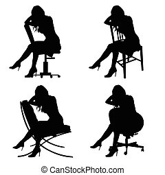 girl silhouette on chair set in black color illustration
