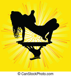 girl silhouette on the tray